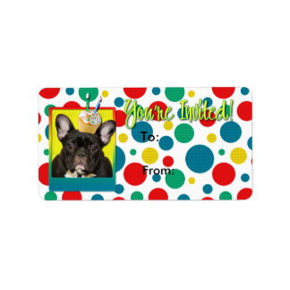 Invitation Cupcake 2 Year Old - French Bulldog Address Label