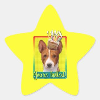 Invitation Cupcake - Basenji Star Sticker