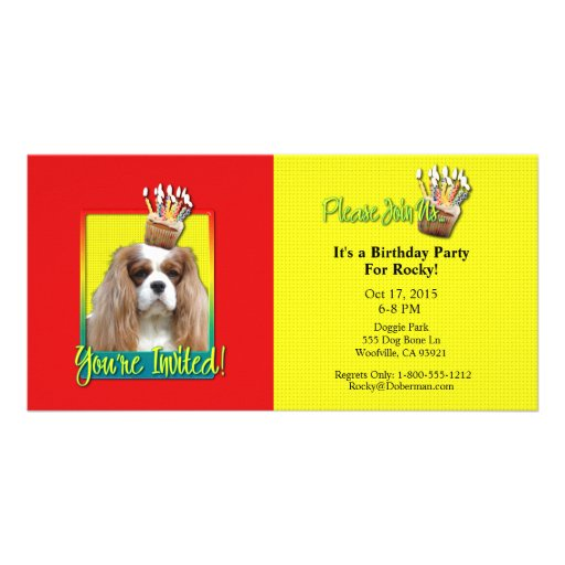 Invitation Cupcake - Cavalier - Blenheim Personalized Photo Card