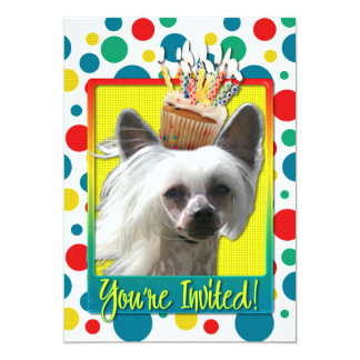 "Invitation Cupcake - Chinese Crested - Kahlo 5"" X 7"" Invitation Card"
