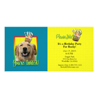 Invitation Cupcake - Golden Retriever - Mickey Picture Card