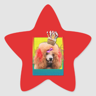 Invitation Cupcake - Poodle - Red Star Sticker