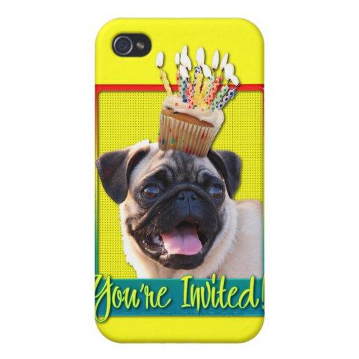 Invitation Cupcake - Pug iPhone 4 Cases