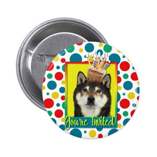 Invitation Cupcake - Shiba Inu - Yasha Pinback Button