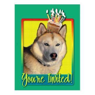 Invitation Cupcake - Siberian Husky - Copper Postcard