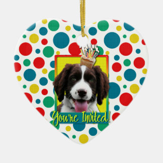 Invitation Cupcake - Springer Spaniel - Baxter Ceramic Heart Decoration