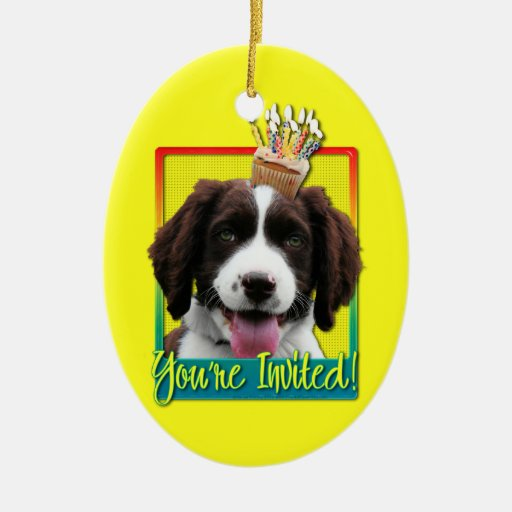 Invitation Cupcake - Springer Spaniel - Baxter Christmas Ornament