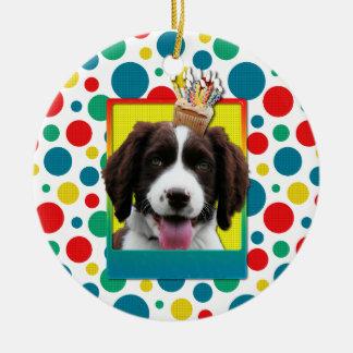 Invitation Cupcake - Springer Spaniel - Baxter Round Ceramic Decoration