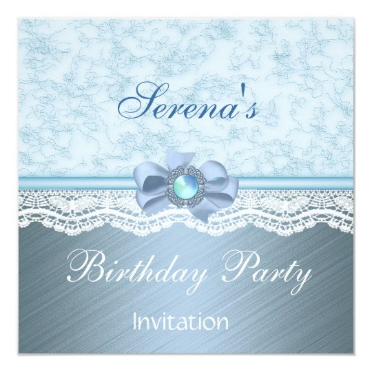 Invitation Elegant Blue Lace Birthday Party