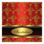 Invitation Elegant Gold Black Red Floral