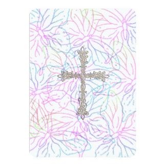 Invitation First Communion Butterfly Silver Cross
