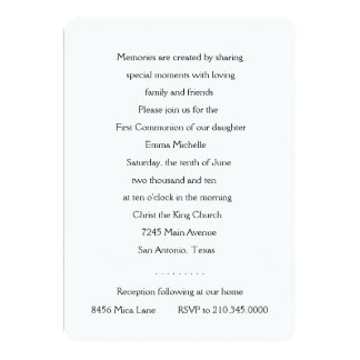 "Invitation First Communion Gold Cross 5"" X 7"" Invitation Card"
