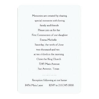 """Invitation First Communion Silver Cross 5"""" X 7"""" Invitation Card"""
