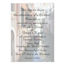 "Invitation for Venice Themed Wedding 5.5"" X 7.5"" Invitation Card"