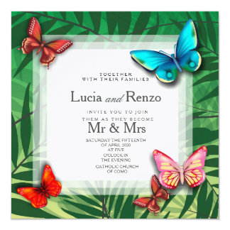 invitation for wedding, for tropical-style wedding