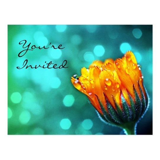 Invitation: Golden Marigold on Teal Bokeh Postcard