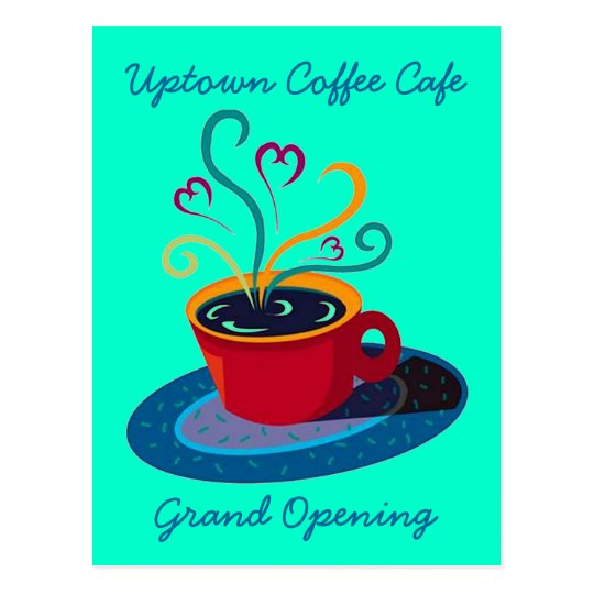 INVITATION GRAND OPENING COFFEE SHOP CAFE POSTCARD