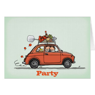 Invitation Greeting Card Vintage Fiat 500