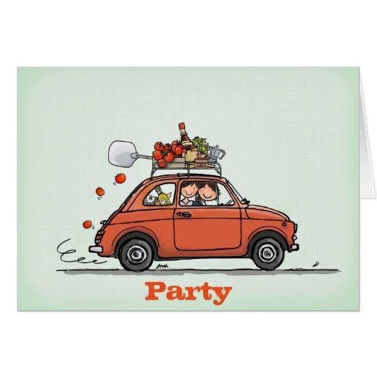 Invitation Greeting Card Vintage Fiat 500