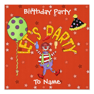 Invitation Kids Birthday Party Circus Clowns