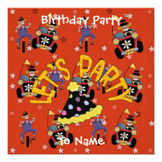 Invitation Kids Birthday Party Circus Clowns Personalized Invites