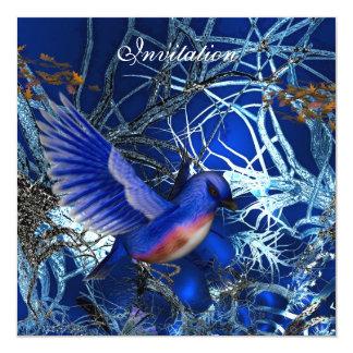 Invitation Magical Blue Birds Blue