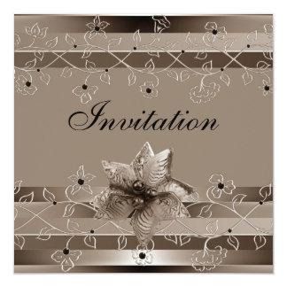 Invitation Metalic Ripple Biege Gold Deco