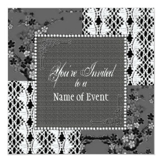 Invitation - Multi-Purpose - Gray and Lace