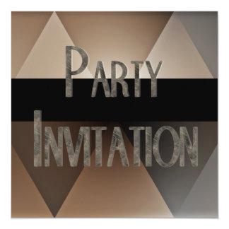 """Invitation Party Biege Black Geo 5.25"""" Square Invitation Card"""