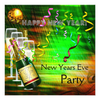 Invitation Party New Years Eve Gold Green Personalized Announcements