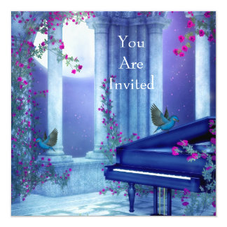 Invitation Party Piano Birds Moonlight Blue