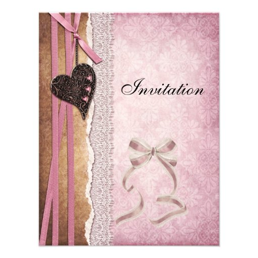 Invitation Pink Antique Paper Bow Heart Personalized Announcements