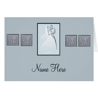 Invitation Place Cards: Blue Pearl Note Card
