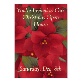 Invitation--Poinsettia Open House Card
