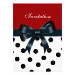 Invitation Red Black Spots White Bows