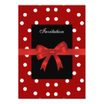 Invitation Red Black Spots White Red Bows