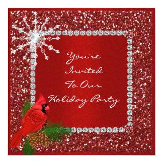 """Invitation RED CRYSTALS multi purpose 5.25"""" Square Invitation Card"""