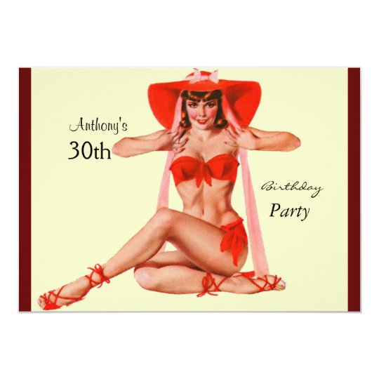 Invitation red Pin-up Girl Cream Birthday Party