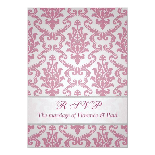 Invitation reply, RSVP. Damask dark dull pink.