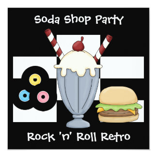 Invitation Rock 'n' Roll Retro Soda Shop Party