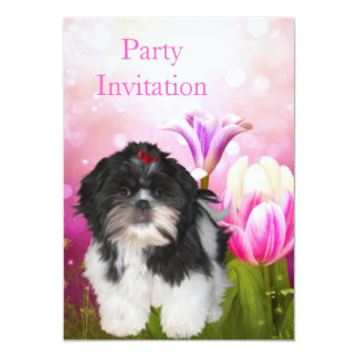 Invitation Shih Tzu Dog and Flowers