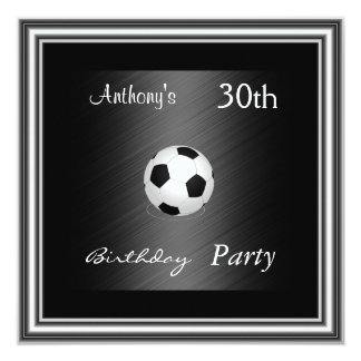 Invitation Soccer 30th Birthday Party  silver Custom Invites