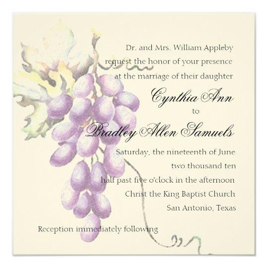 Invitation Square Purple Bunch of Grapes
