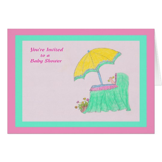 Invitation to Baby Shower, Drawing in Pink/Green