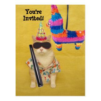 Invitation to Birthday with Pinata! Post Card