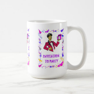 Invitation to party, boy with a parcel basic white mug