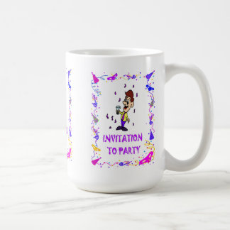 Invitation to party, man with drink basic white mug