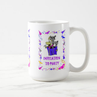 Invitation to party, parcel of dogs basic white mug
