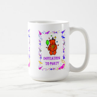 Invitation to party, teddy bear and balloon basic white mug