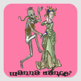 invitation to the danse macabre square sticker